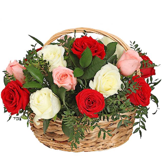Корзина-21 роза